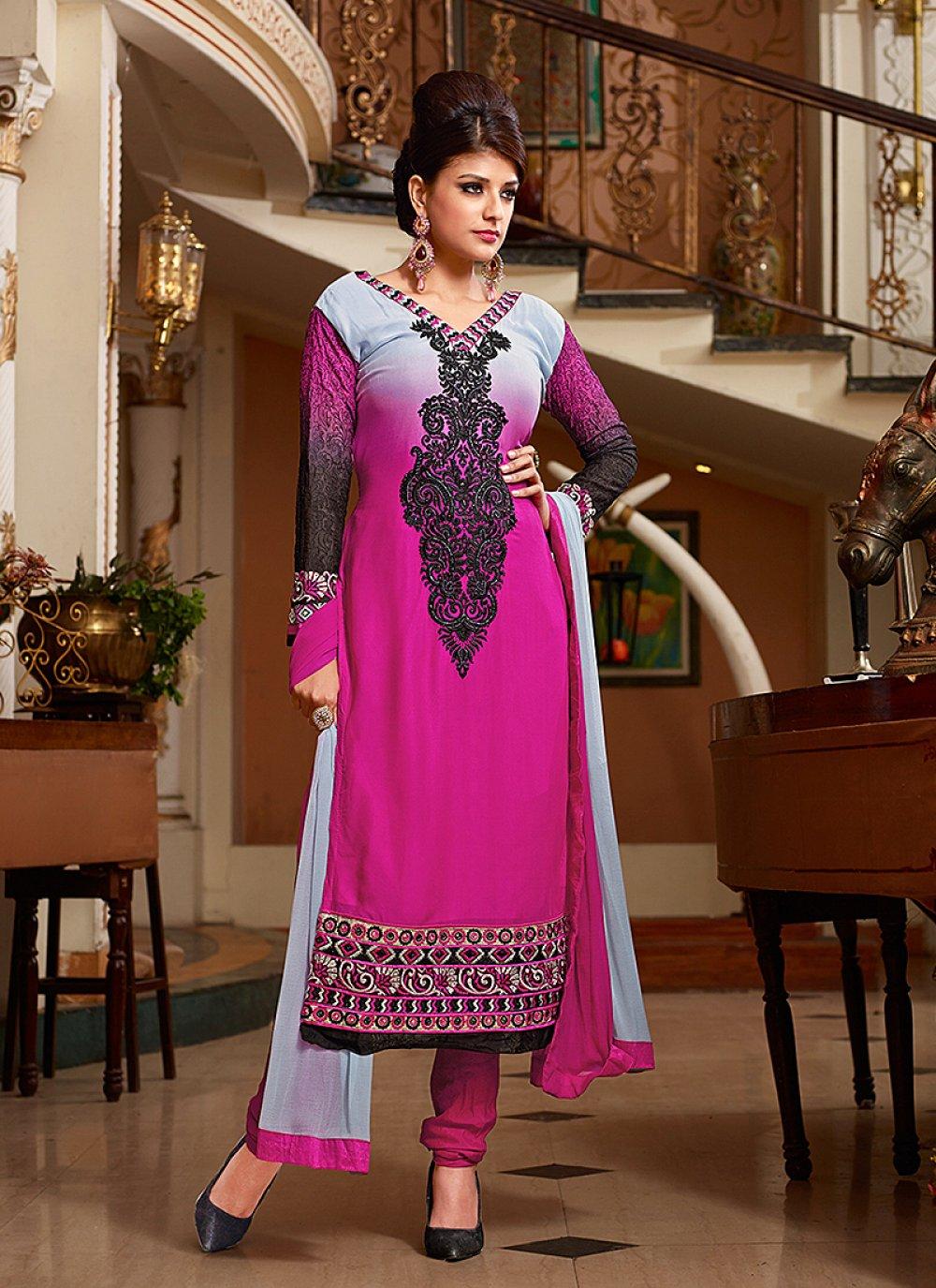 Pink Resham Work Georgette Churidar Suit