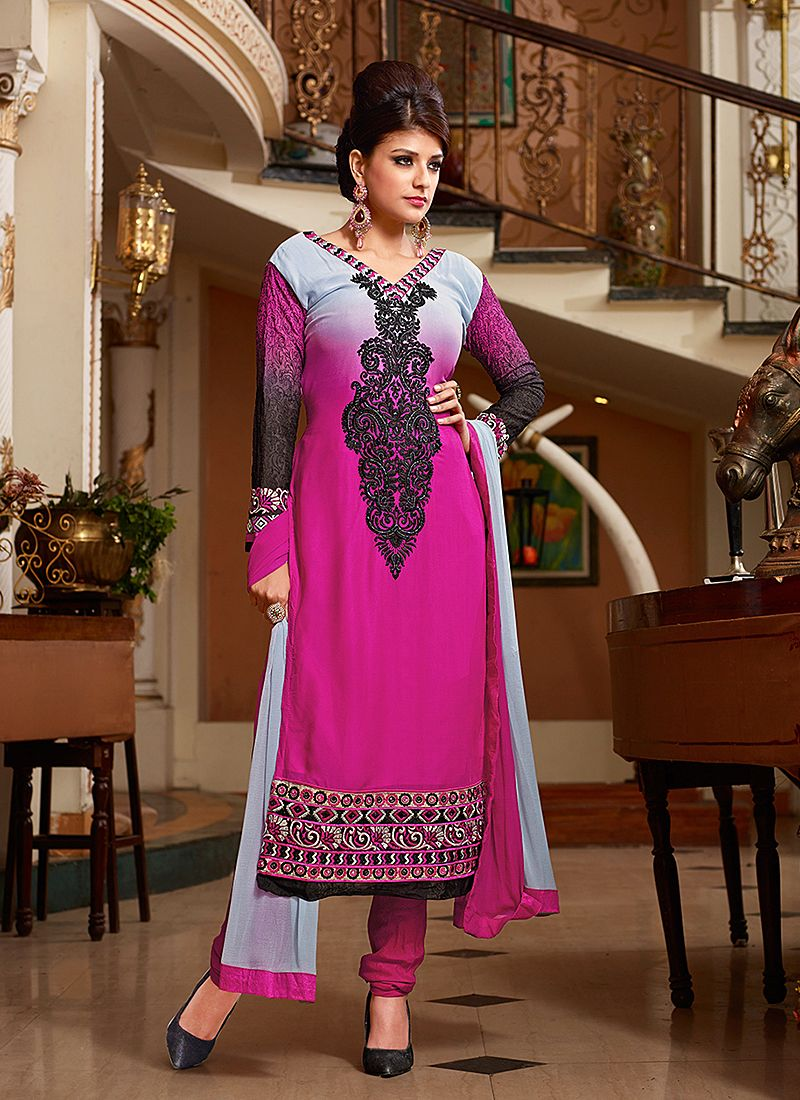 Pink Resham Work Georgette Churidar Suit