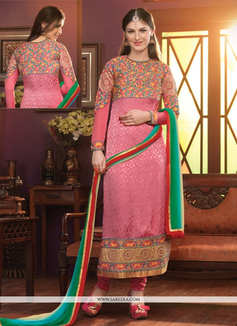 Pink Zari Work Crepe Churidar Suit