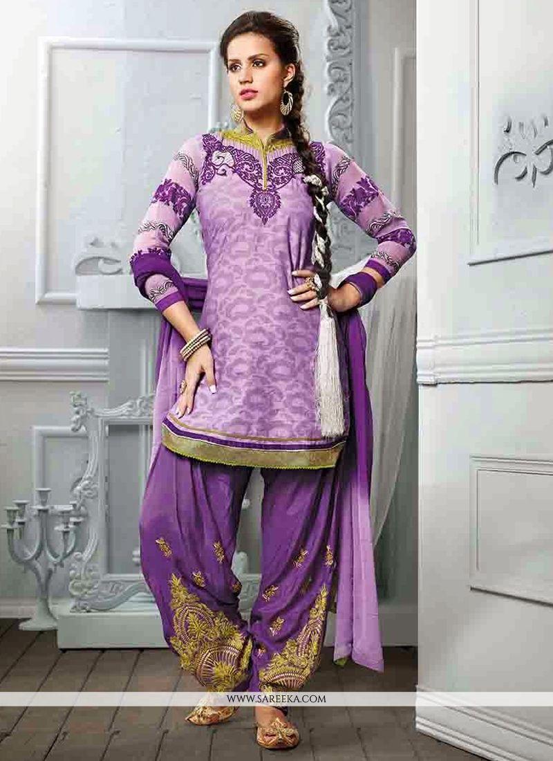 Purple Cotton Jacquard Punjabi Suit