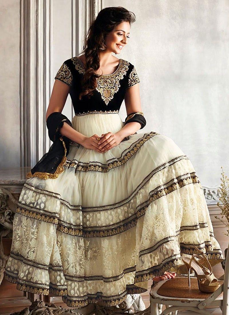 b58232a877 Rakul Preet Off White Zari Work Net Anarkali Suit -