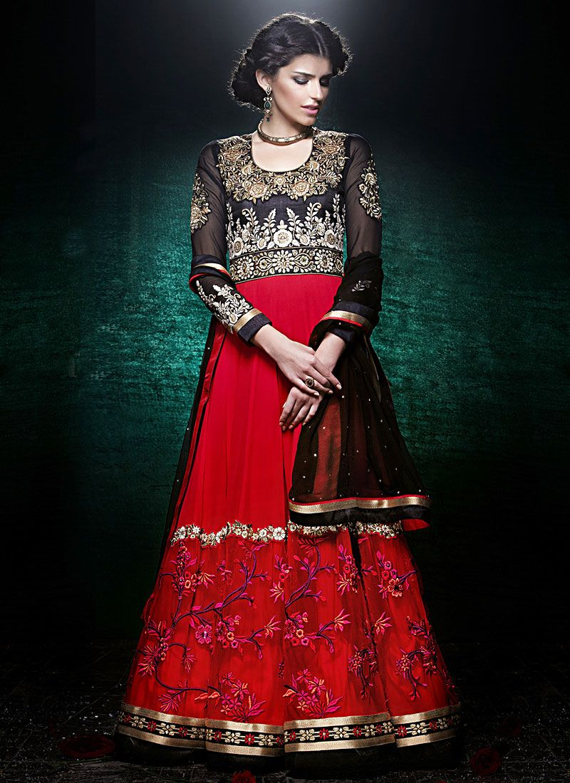 Red And Black Floor Length Georgette Anarkali Suit