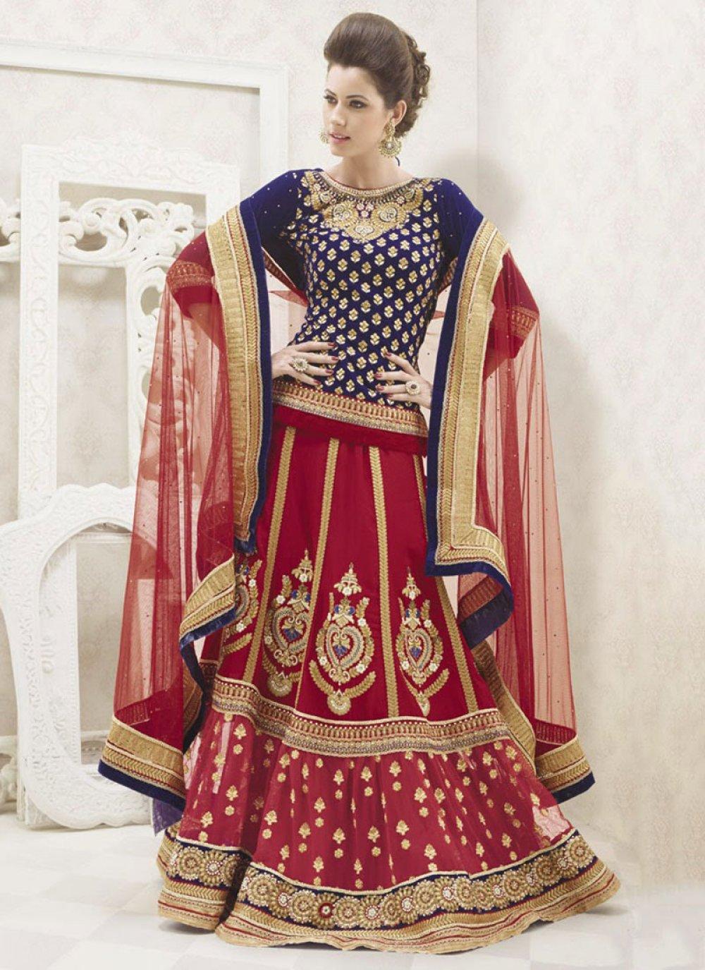 Red And Blue Resham Work Lehenga Choli