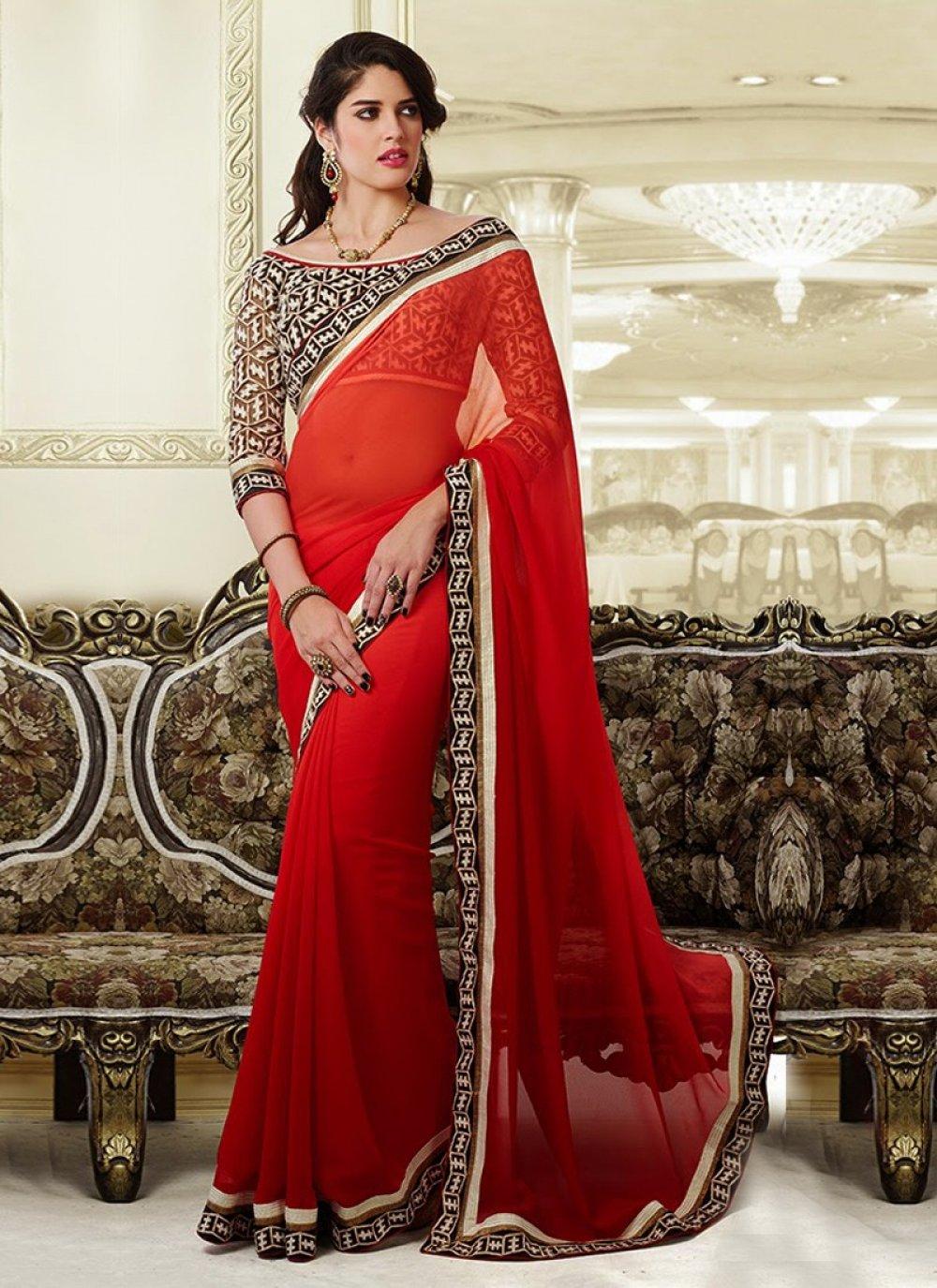 Red Border Work Net Designer Saree