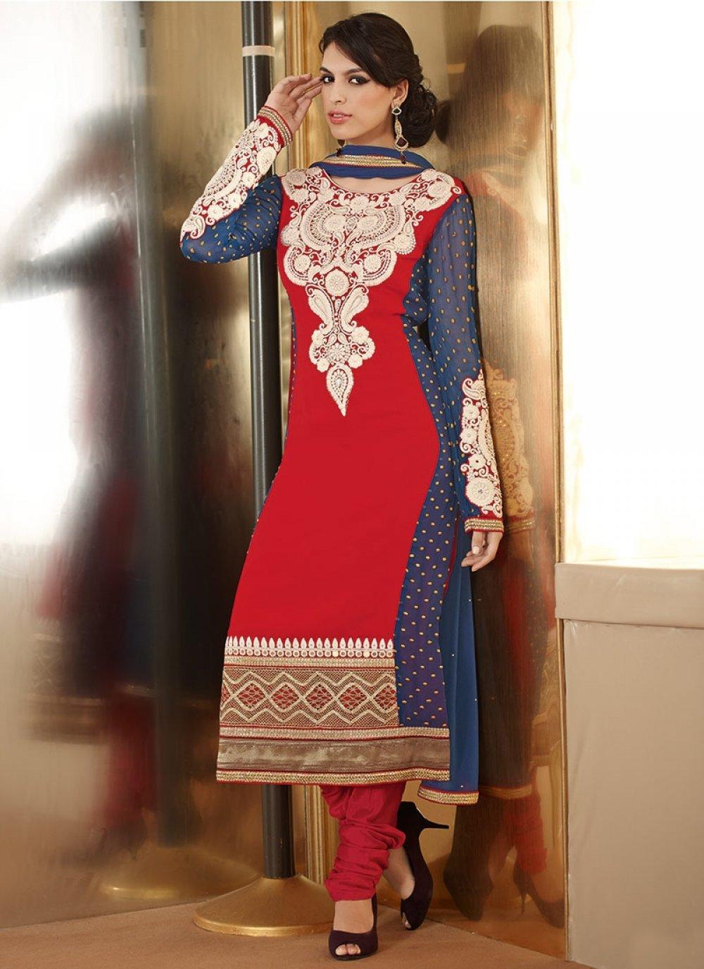 Red Faux Georgette Designer Churidar Suit