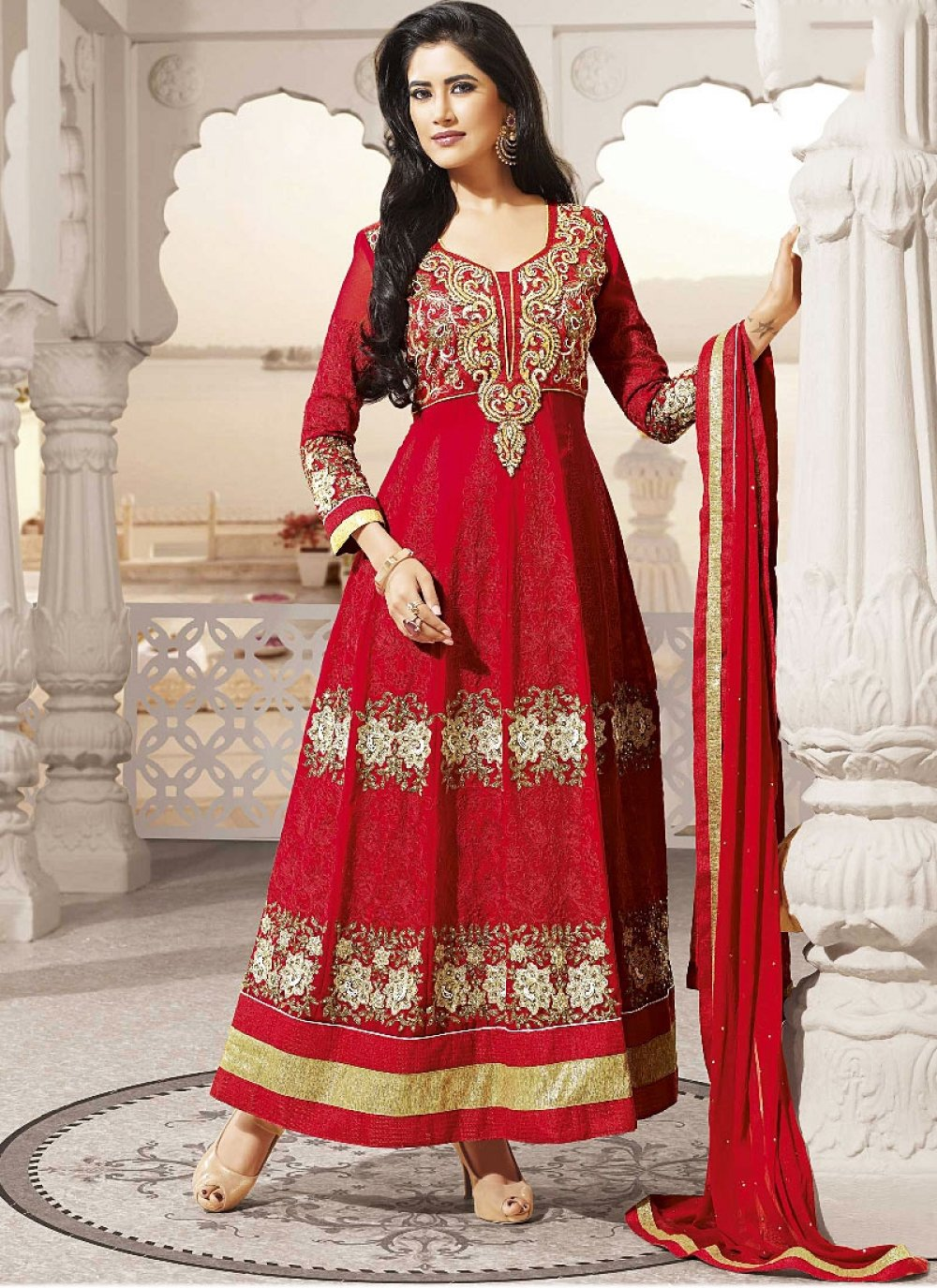Red Georgette Embroidered Long Anarkali Suit