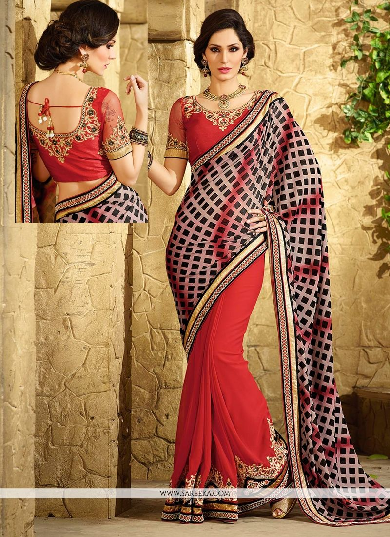 Red Georgette Jacquard Saree