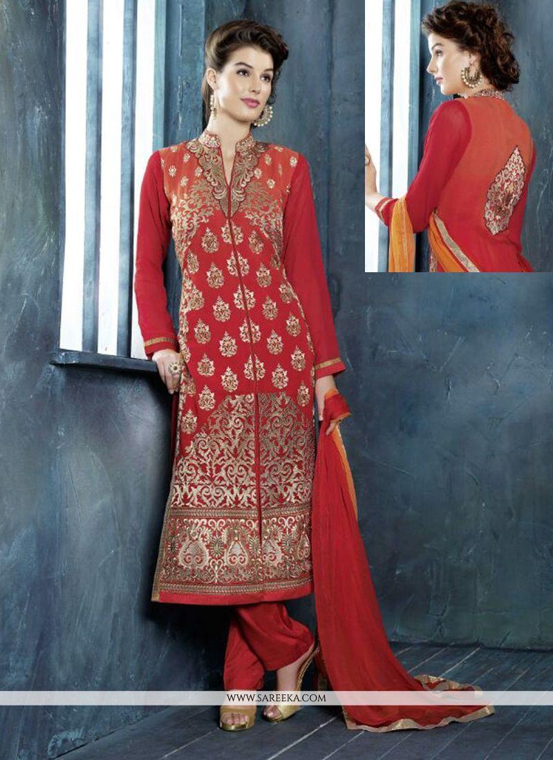 Red Georgette Salwar Suit