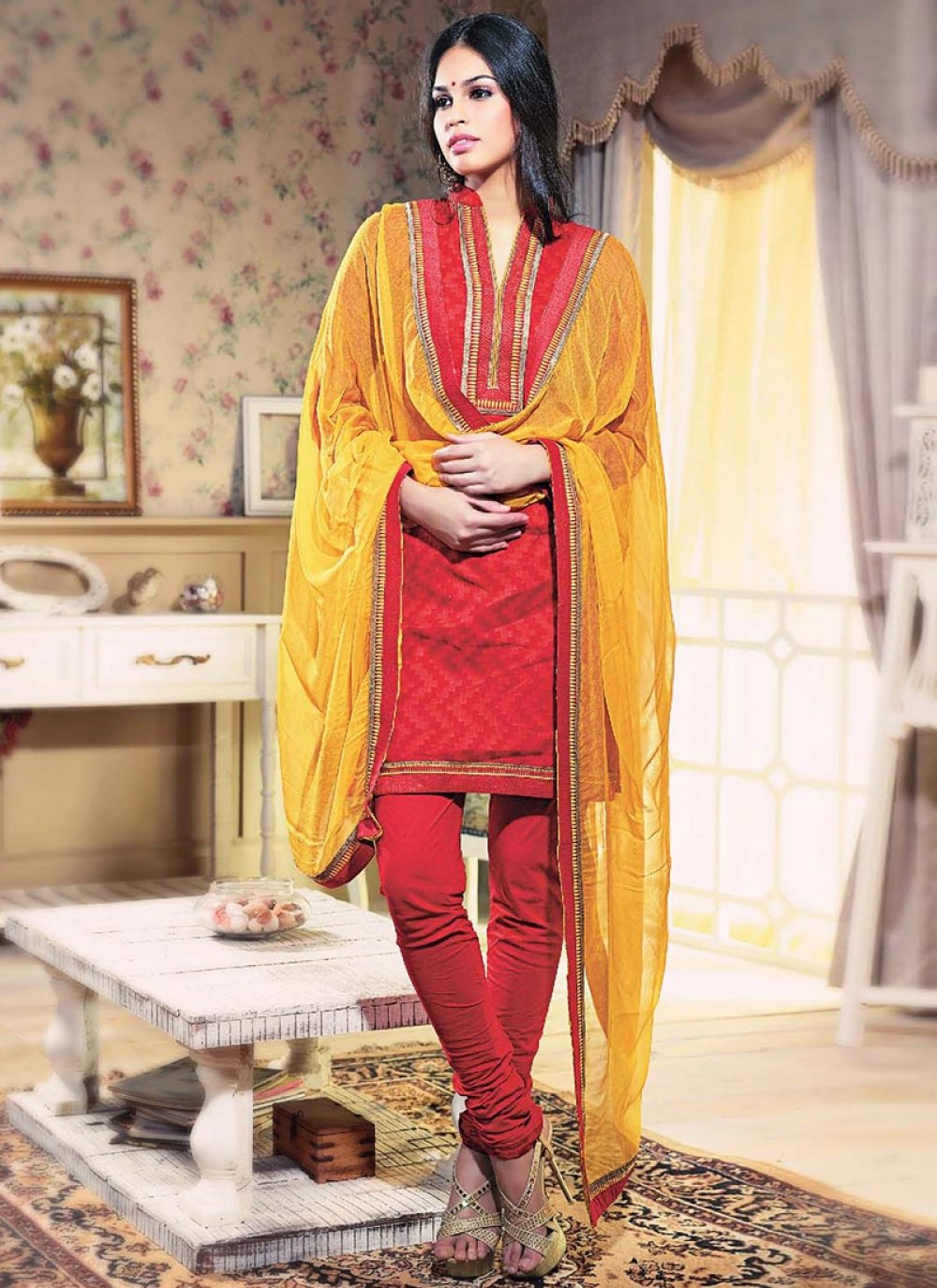 Red Printed Cotton Churidar Suit