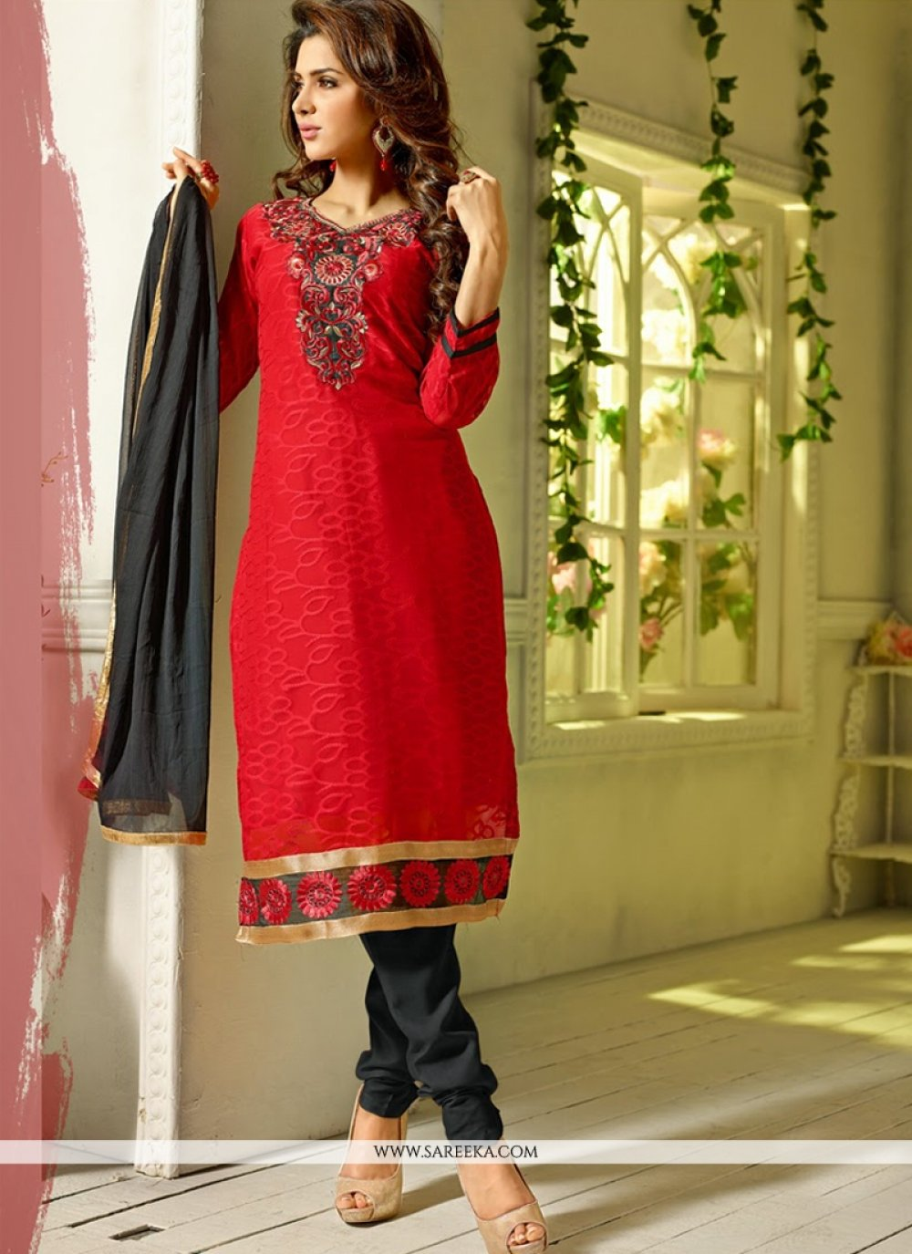 Red Pure Jacquard Churidar Suit