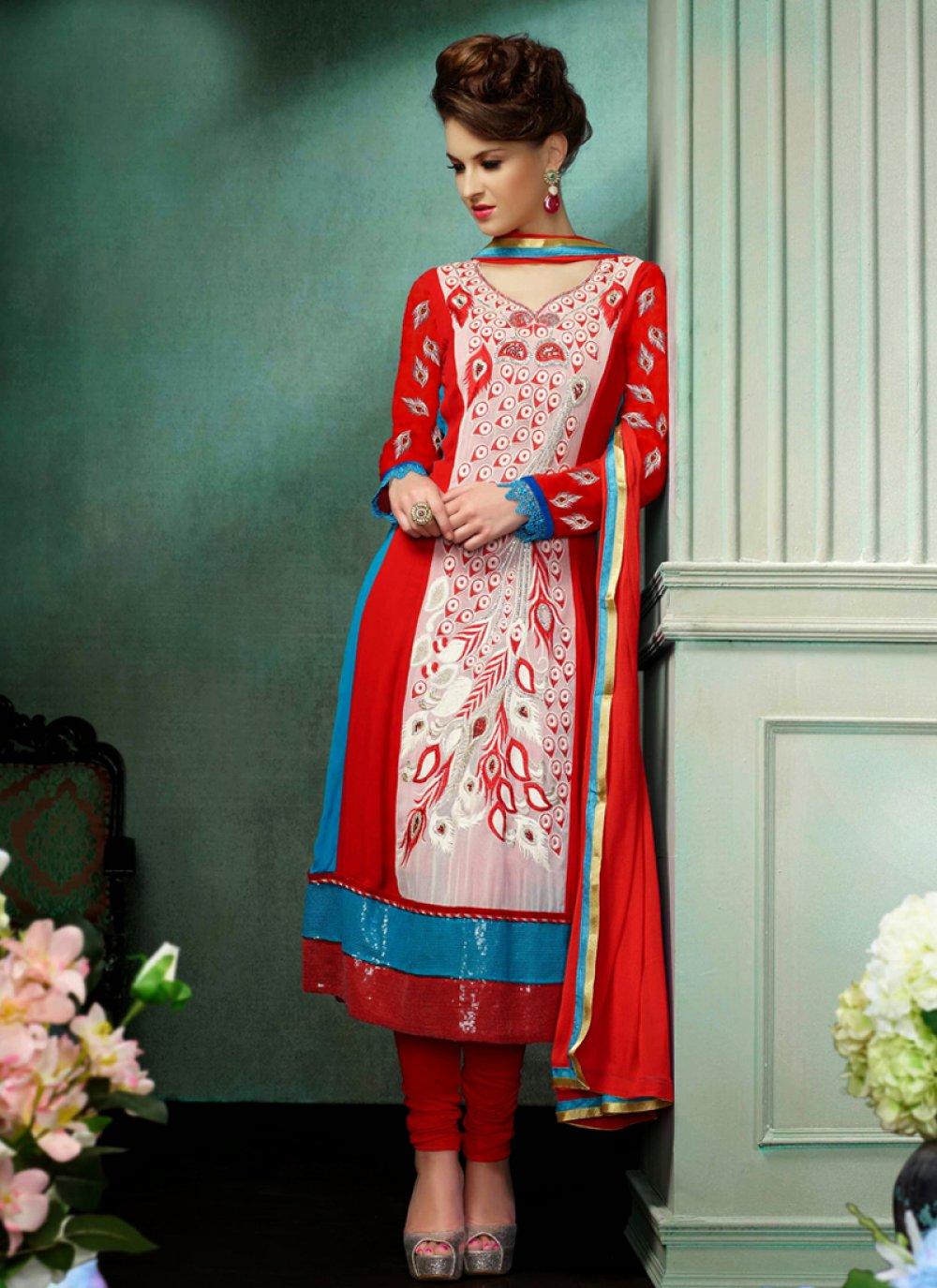 Red Resham Churidar Salwar Suit