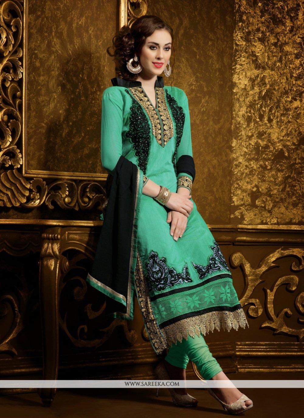 Sea Green Embroidery Work Churidar Suit