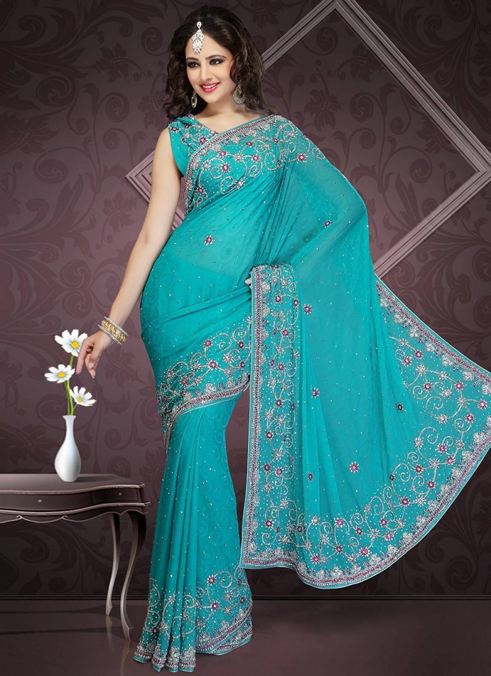 Turquoise Jacquard Saree