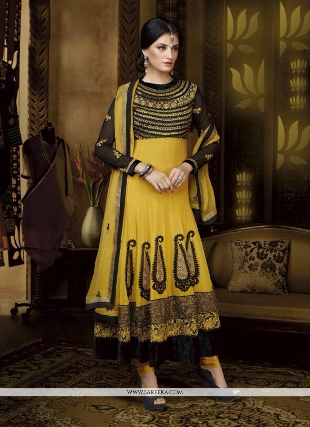 Yellow Georgette Anarkali Salwar Suit