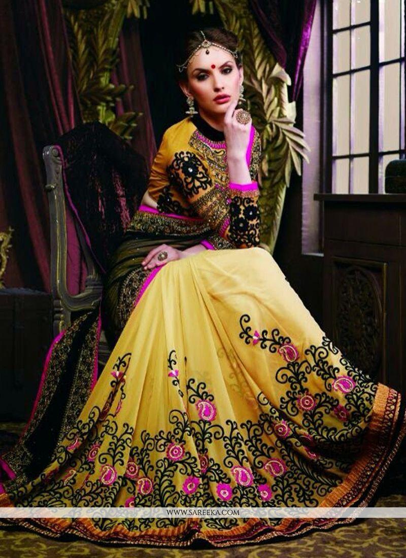 Yellow Net And Georgette Designer Saree