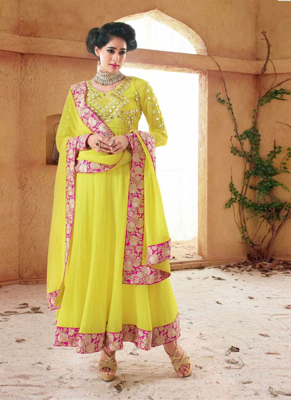Yellow Patch Border Work Holiday Movie Anarkali Suit