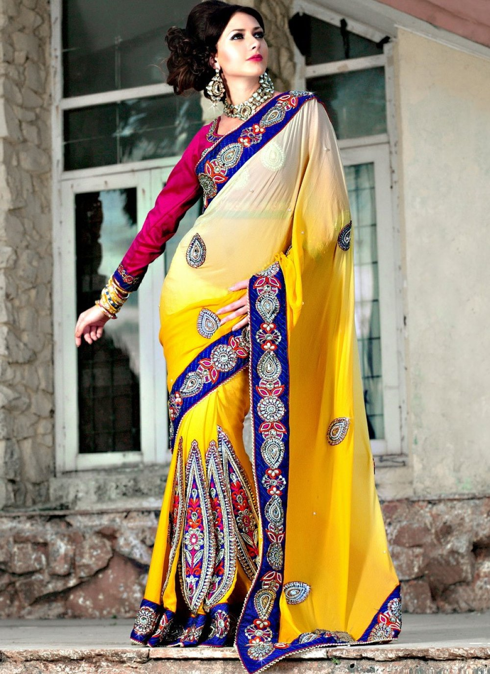 Yellow Shaded Faux Georgette Saree