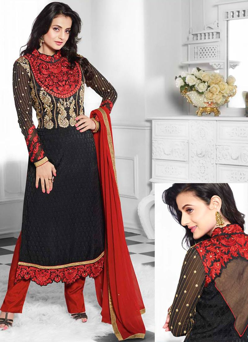 Ameesha Patel Black And Red Zari Work Pakistani Suit