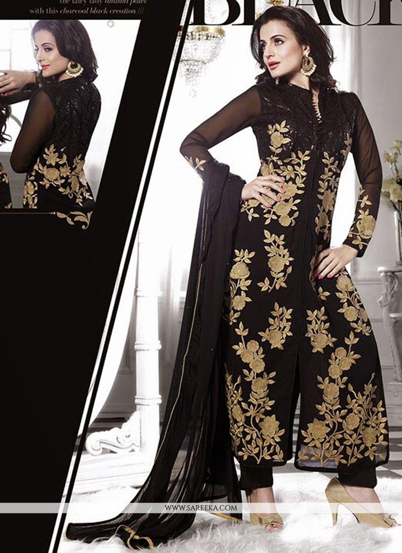 Ameesha Patel Black Zari Work Pant Style Suit