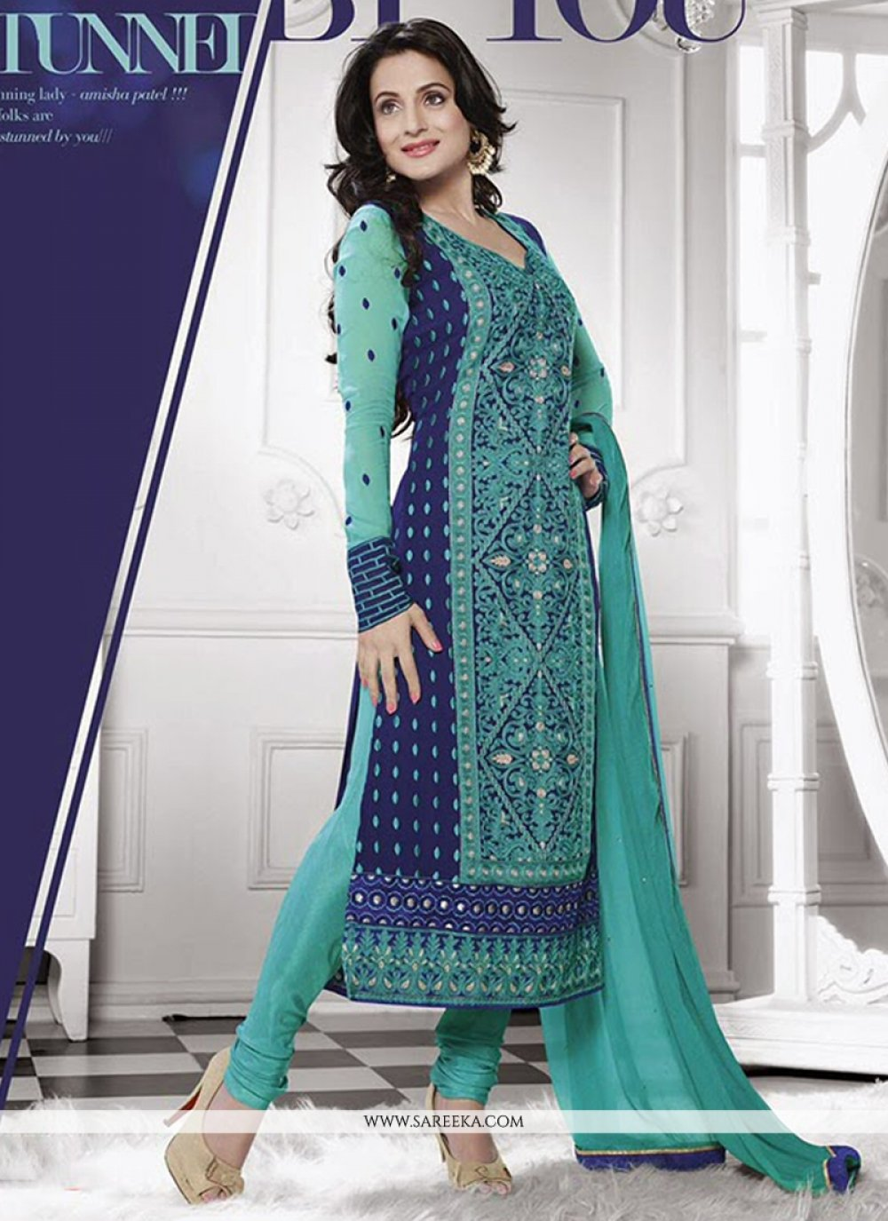 Ameesha Patel Blue Embroidery Work Churidar Suit