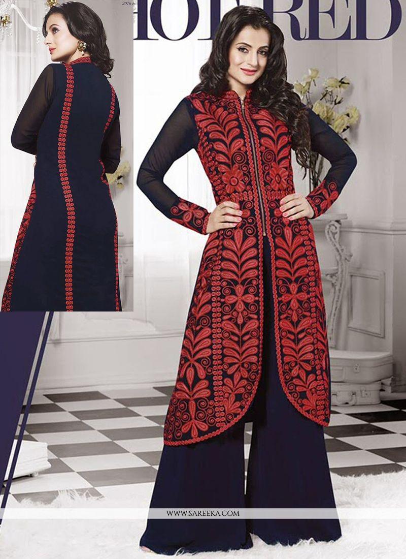 Ameesha Patel Blue Georgette Palazzo Suit
