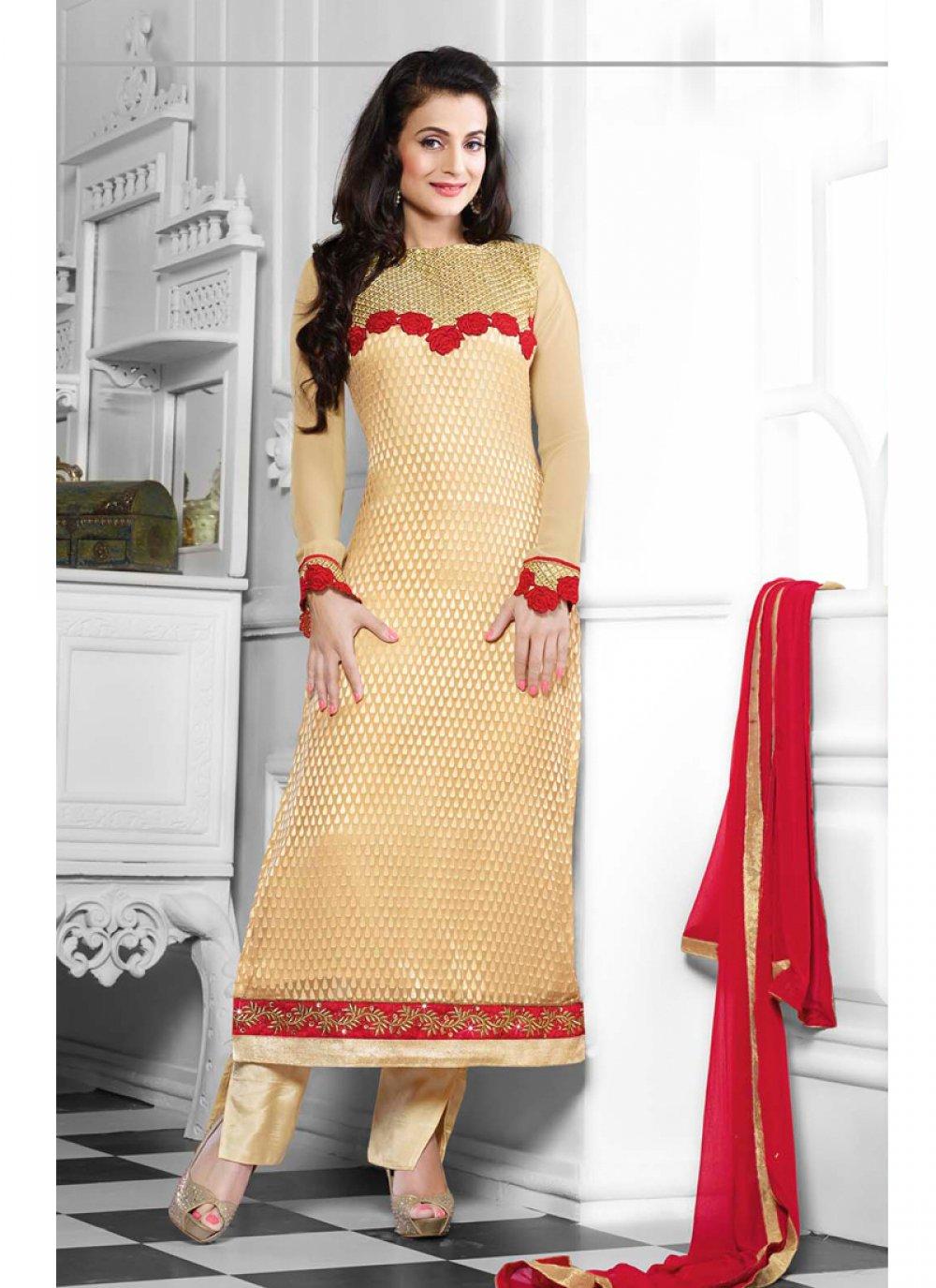 Ameesha Patel Cream Embroidery Salwar Suit