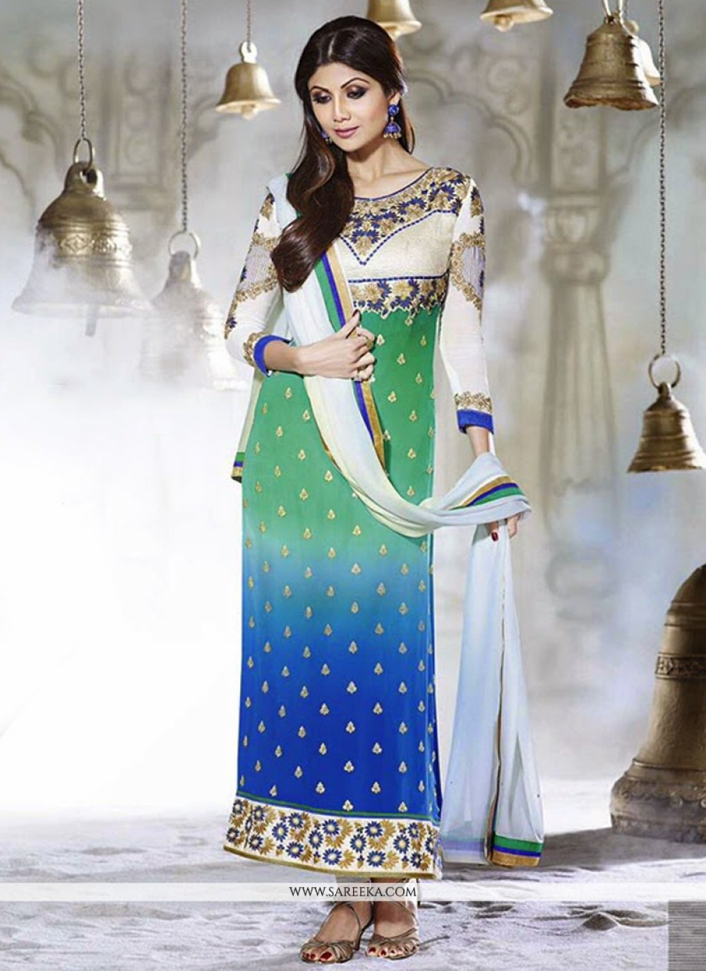 Shilpa Shetty Green And Blue Georgette Churidar Suit
