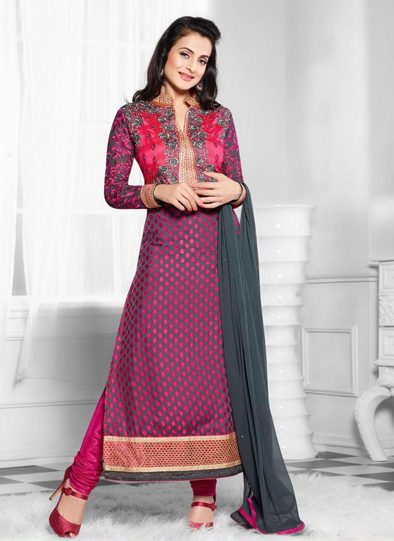 Ameesha Patel Grey And Pink Brasso Churidar Suit