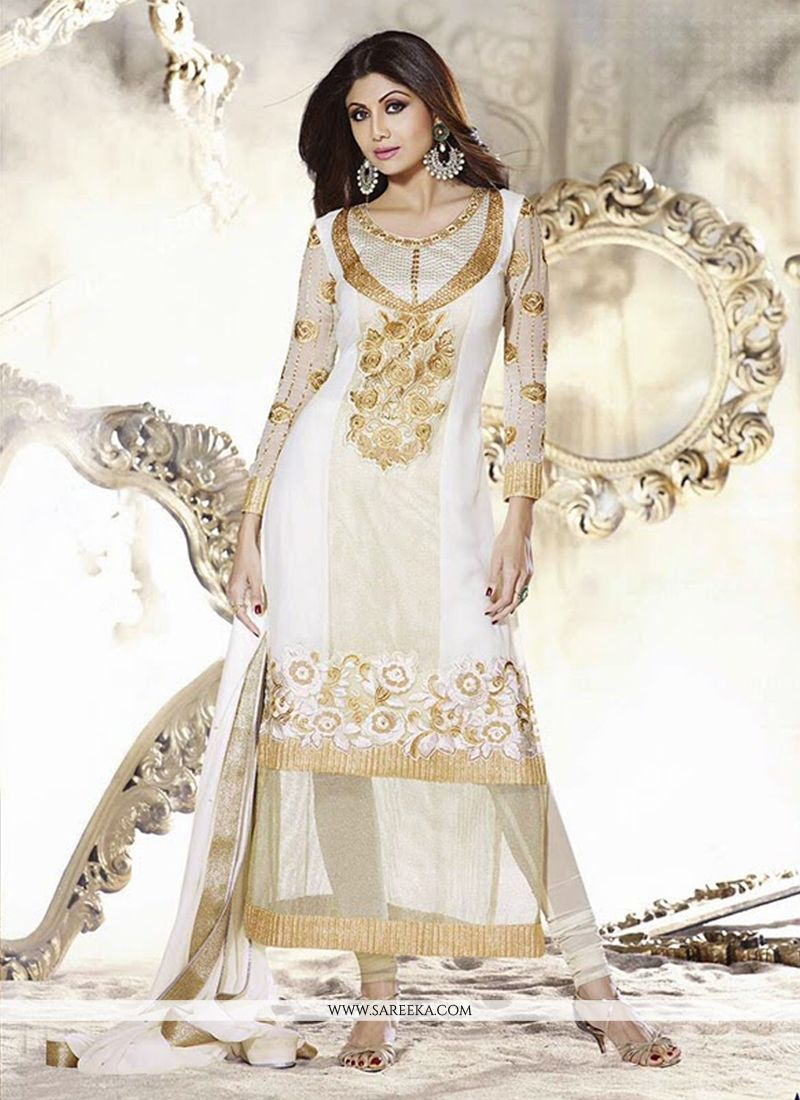 Shilpa Shetty Off White Georgette Churidar Suit