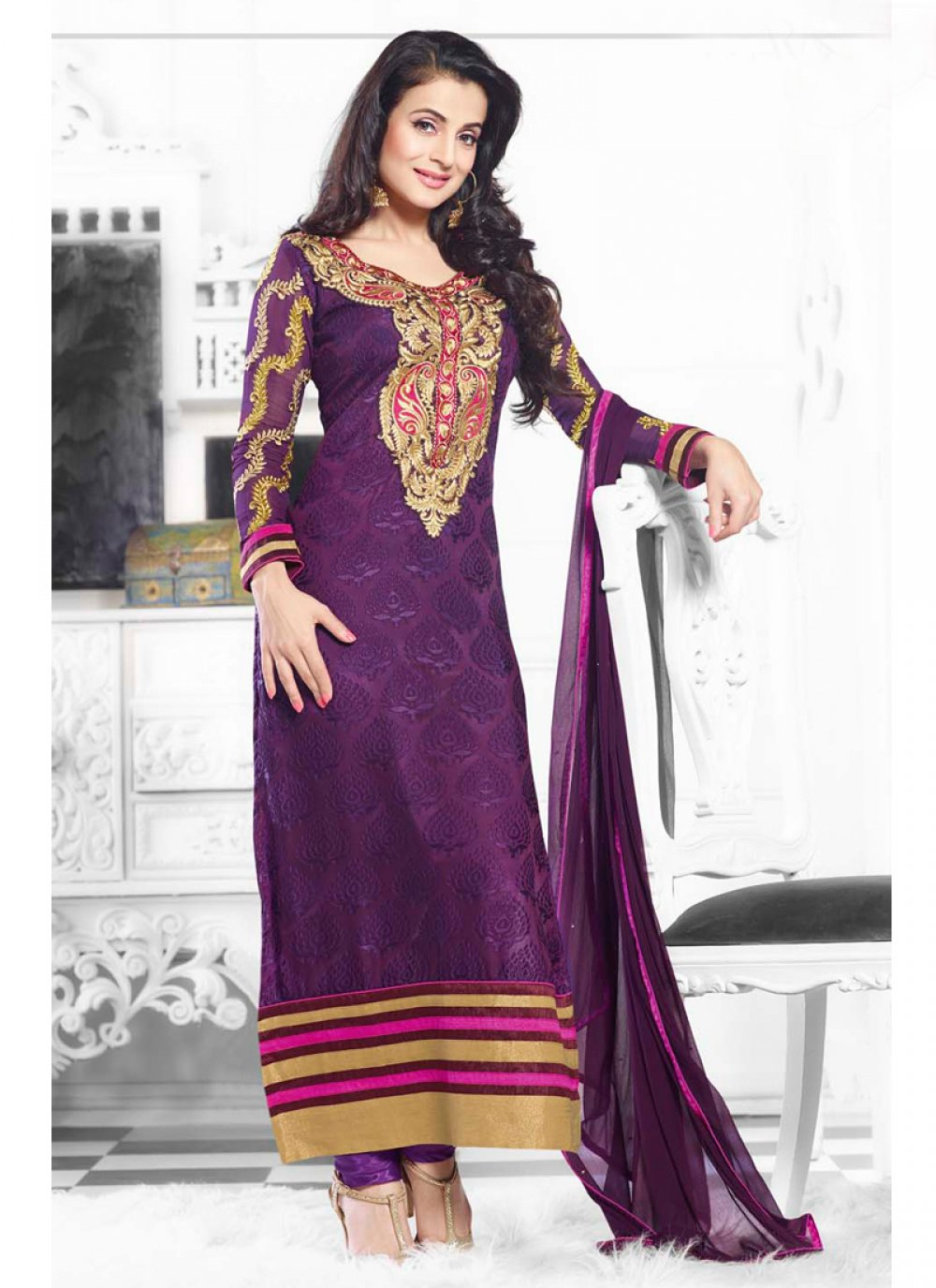 Ameesha Patel Purple Brasso Churidar Suit