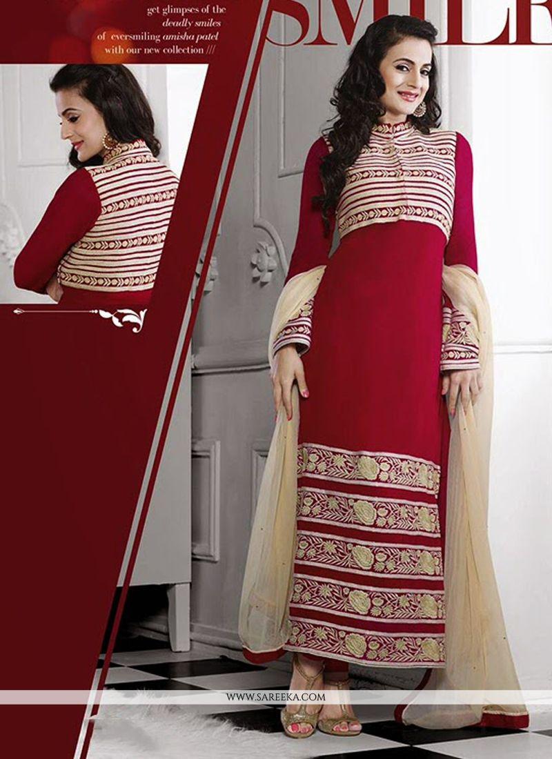 Ameesha Patel Red Georgette Churidar Suit