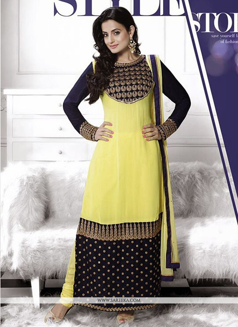 Ameesha Patel Yellow Georgette Churidra Suit