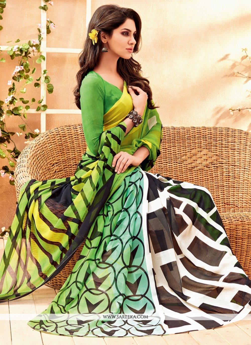 Faux Chiffon Green Casual Saree