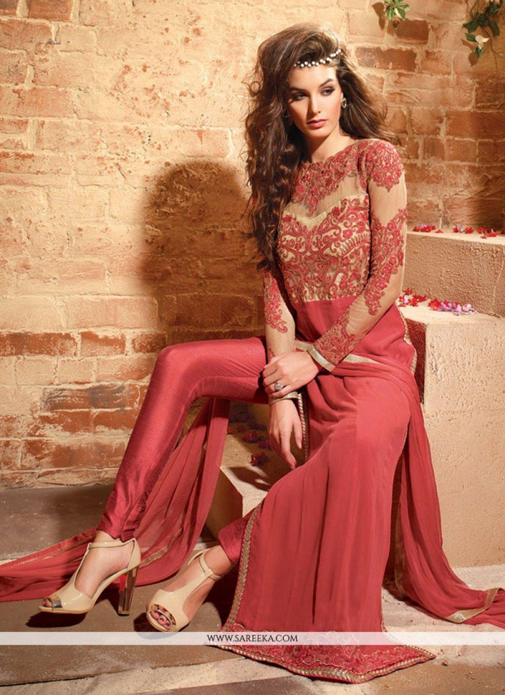 Georgette Red Designer Suit