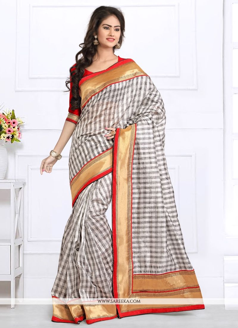 Grey Patch Border Work Bhagalpuri Silk Designer Saree