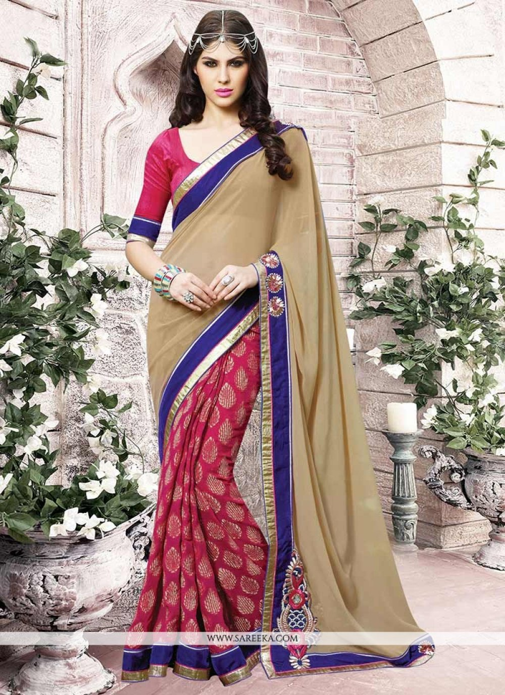 Hot Pink and Beige Embroidered Work Jacquard Half N Half  Saree