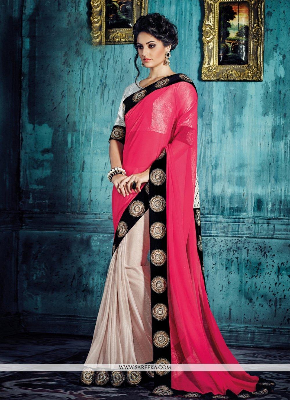 Hot Pink Georgette Designer Saree