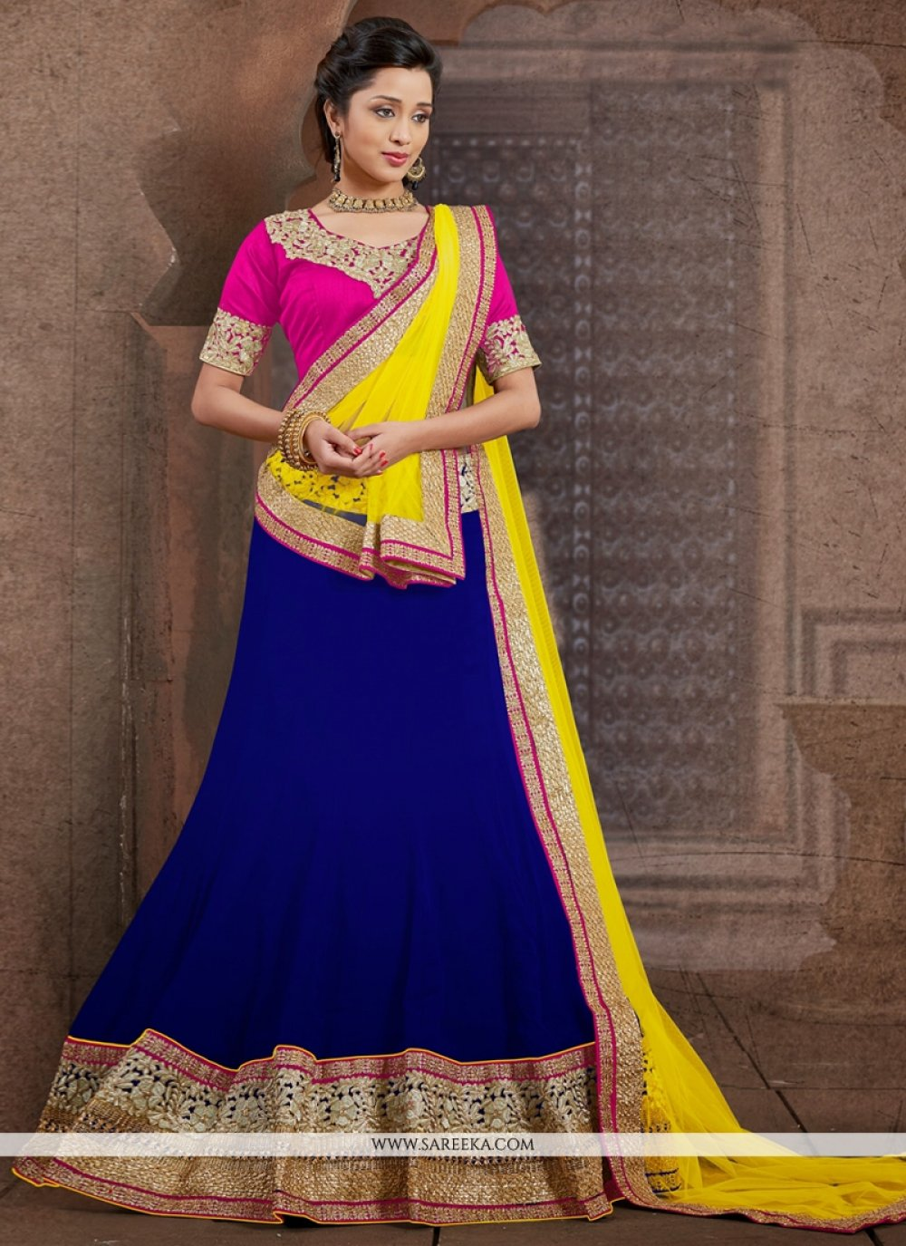 Blue Faux Chiffon Wedding Lehenga Choli