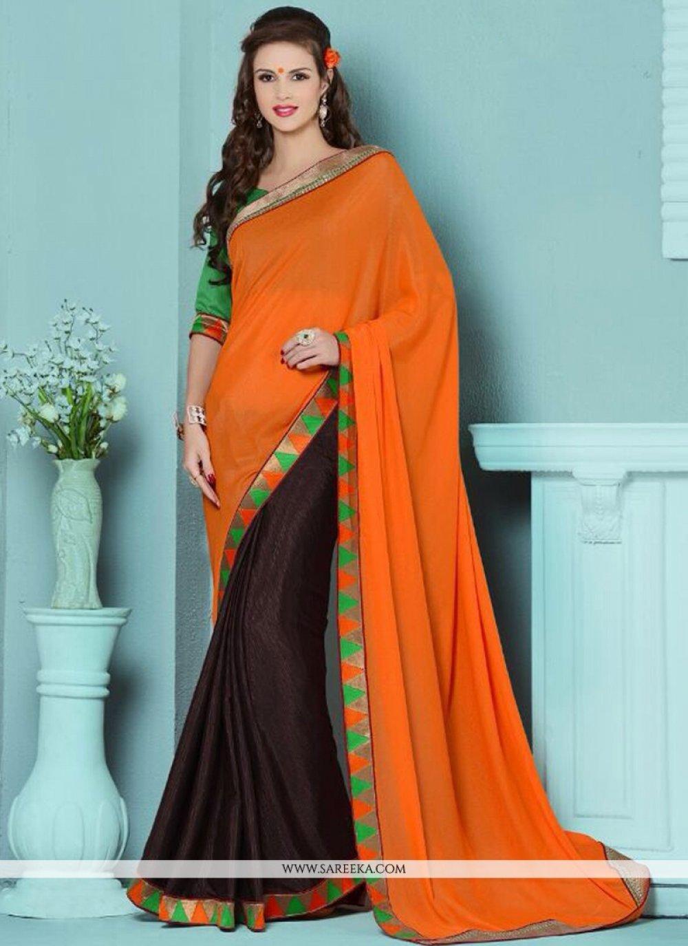 Cotton   Orange and Brown Lace Work Designer Half N Half saree