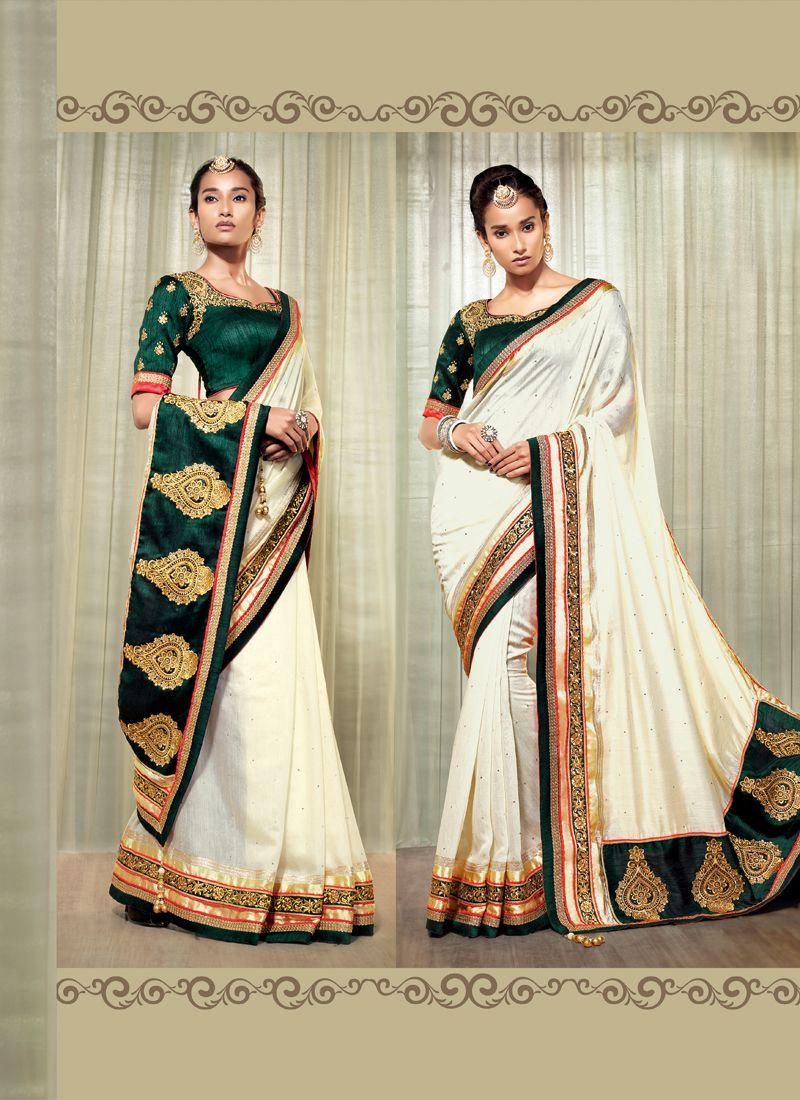 Cream Cotton Silk Designer Saree