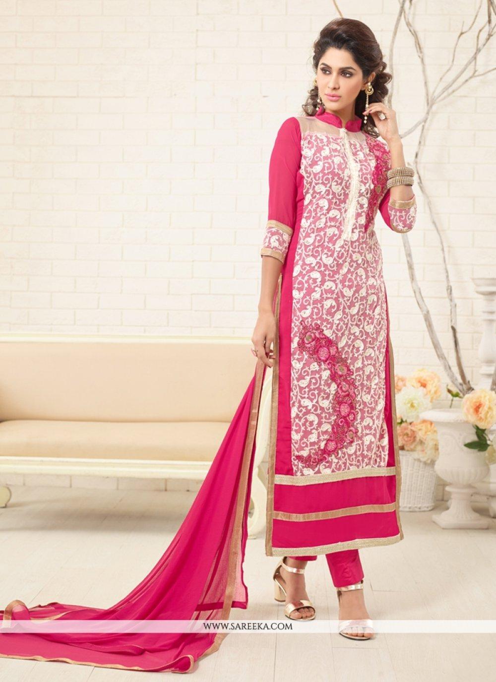 Embroidered Work Georgette Designer Straight Salwar Suit