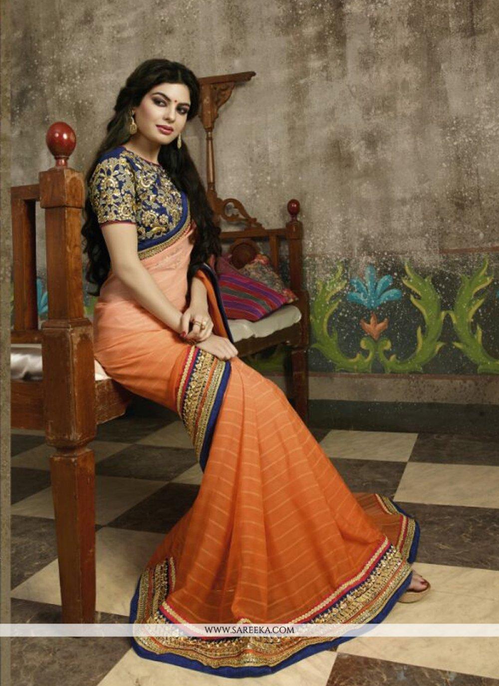 Fancy Fabric Embroidered Work Designer Saree