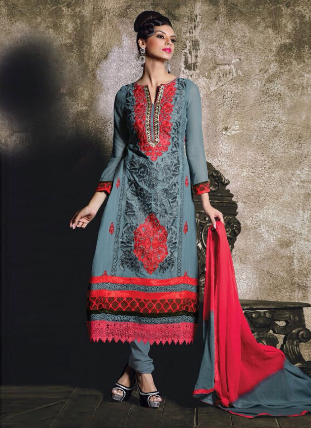 Grey And Red Georgette Churidar Suit
