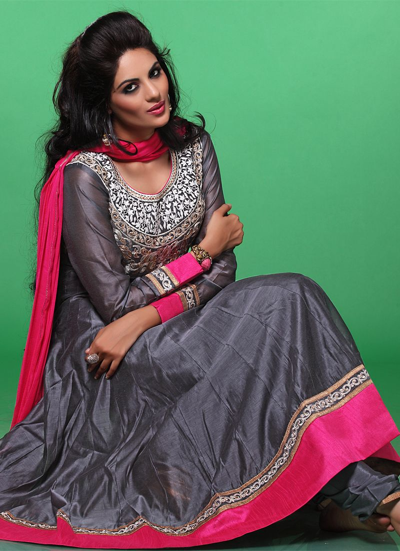 Grey Resham Work Georgette Anarkali Suit