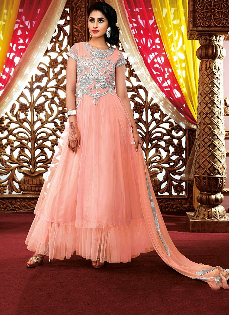 Peach Zari Work Georgette Anarkali Suit