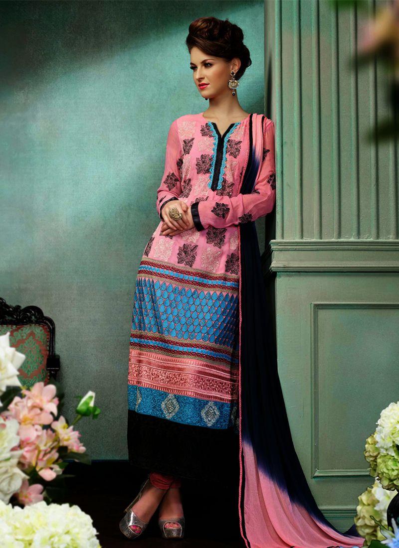 Pink Embroidery Churidar Salwar Suit