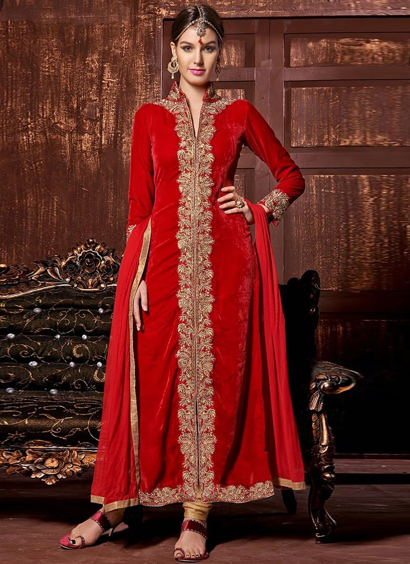 Red Velvet Designer Churidar Suit