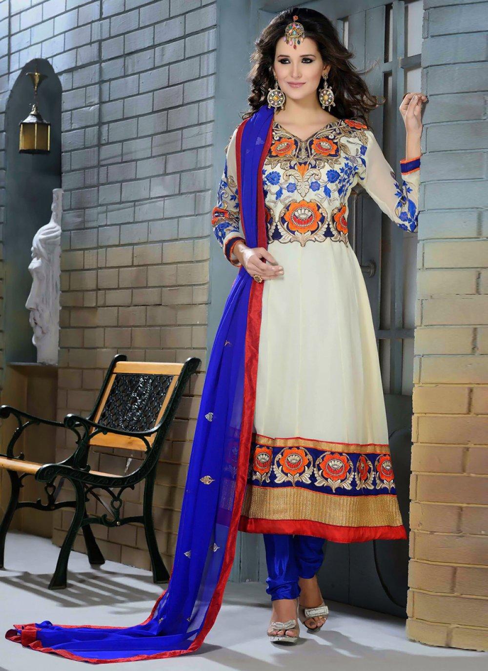 White Georgette Designer Anarkali Suit