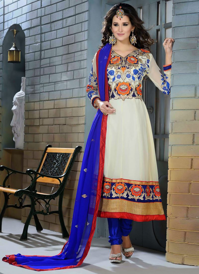 White Georgette Designer Anarkali Suit