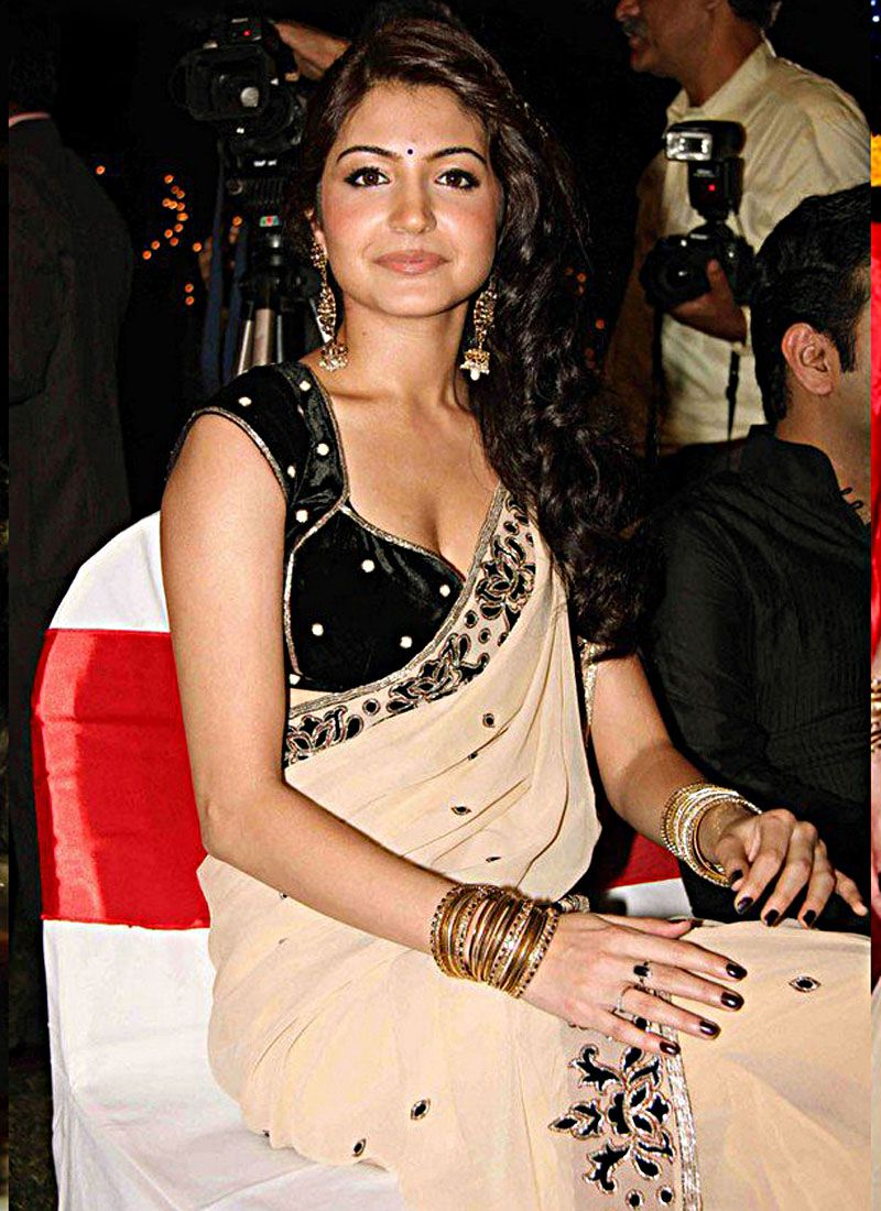Anushka Sharma Vivacious Beige Brown Embroidered Saree